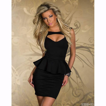 ZO-ON New Sexy  Peplum Dress Mini Club Dresses Women Work Garment Four Color Plus Size  M L XL