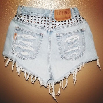 MADE TO ORDER Circle Studs Highwaisted Shorts by PeaceLoveStuds