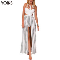 YOINS New 2016 Women Fashion Sexy Striped Cage Strappy Cut Out Jumpsuit Romper Back Zip Sleeveless Playsuit with Maxi Ovelay