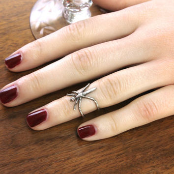 Sterling and Garnet Midi Ring, Unique Insect Bug Cuff Design, Adjustable Size Medium, Stacking Pinky Ring