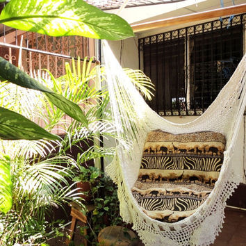 Beige Sitting Hammock with Fringe Hanging Chair by hamanica