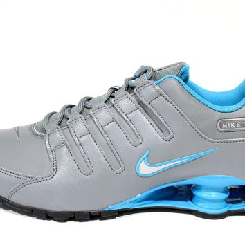 Nike Men's Shox NZ Cool Grey/Blue Running Shoes 378341 004