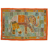 Red Indian Heavy Bead Works Antique Elephant Patchwork Tapestry Wall Hanging