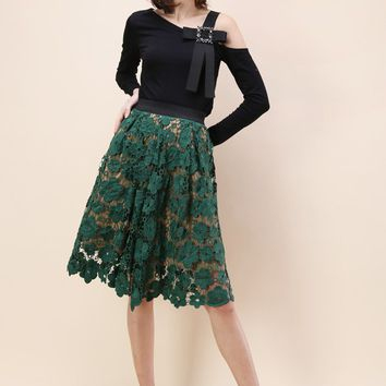 Floral Reverie Crochet Midi Skirt in Green