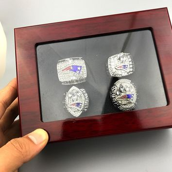 sports football jewelry Amazing quality New England Patriots super bowl replica World Championship Ring set 4 pcs