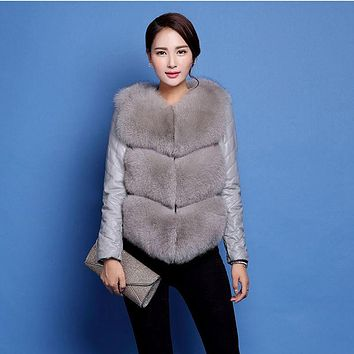 Autumn/Winter Women Cotton Jacket New Fashion Single-breasted Long-sleeve Artificial fur Casual Slim Big yards Leather Coat YD12