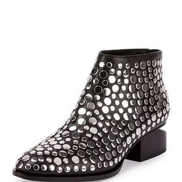Alexander Wang Kori Studded Leather Lift-Heel Bootie, Black