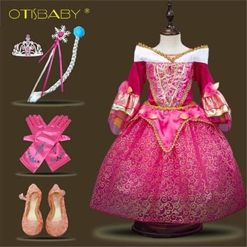 Girls Sleeping Beauty Aurora Dress Summer Children Prom Party Fairy Dress Elegant Wedding Dress Girls Graduation Ball Gowns
