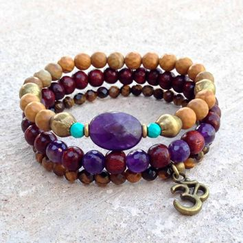 Amethyst, Jasper, Rosewood, and Tiger's Eye Bracelet Stack