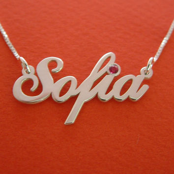 Sofia Name Necklace Sterling Silver Name Necklace Birthday Gift Birthstone Name Necklace Personalized Necklace Name Necklaces Silver Chain