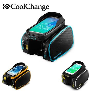 CoolChange Bicycle Front Frame Tube Bag Waterproof Ciclismo Bike Bags Panniers Touch Screen Bolsa De Bicicleta Bisiklet Aksesuar
