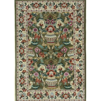 EORC Hand-knotted Wool Green Traditional Oriental Vase Rug