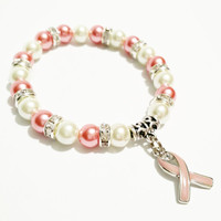 Breast Cancer Survivor / Breast Cancer Awareness Bracelet / Get Well Soon Jewelry / Breast Cancer Bracelet / Pink Ribbon Charm