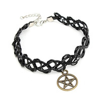 Black Elastic Stretch Tattoo Choker Necklace Pentagram Cross Pendant