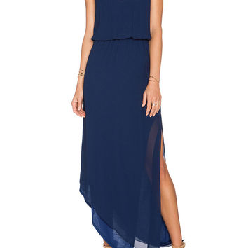 Navy Spaghetti Strap Asymmetrical Split Dress