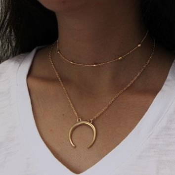 Fashion simple double-layer copper beads necklace, moon pendant multi-storey necklace