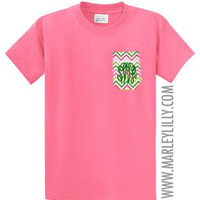 Monogrammed Pocket Crew T-Shirt | Preppy T-Shirts | Marley Lilly