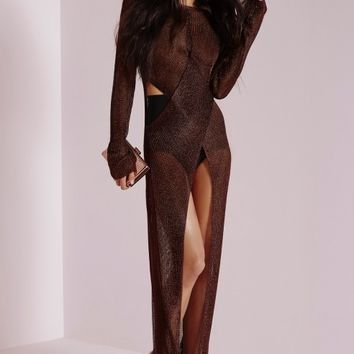 Missguided - Metallic Twist Front Maxi Dress Bronze