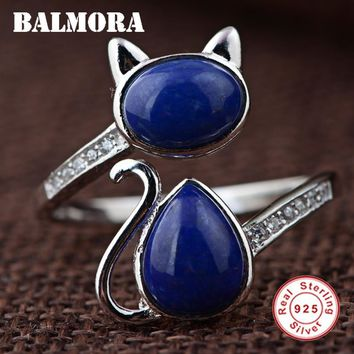 BALMORA Solid 925 Sterling Silver Lapis Lazuli Cat Open Rings for Women Lady Gift Sterling Silver Ring Fashion Jewelry TRS21250