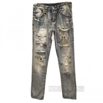 Indie Designs Distressed Blue Washed Jeans