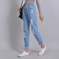 Yichaoyiliang 2017 Summer Ripped Boyfriend Jeans for Women Denim Harem Pants Elastic Waist Distressed Loose Casual Long Pants