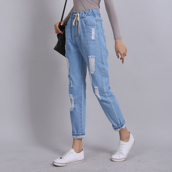 Denim Ankle- length Wild Harem Pants Elastic Waist  Distressed Women Autumn Loose Casual Long Bottom Summer Washed Ripped Jeans