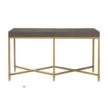 Strand Console Table Gray Shagreen, Brushed Gold
