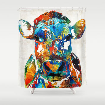 Colorful Cow Art - Mootown - By Sharon Cummings Shower Curtain by Sharon Cummings