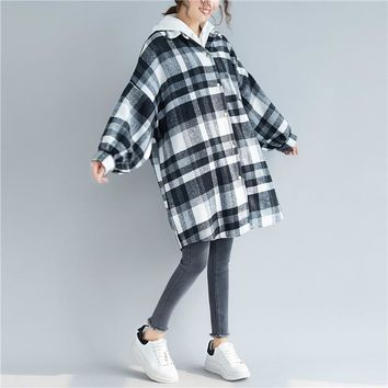 JACKET 3 Colors Cardigan Jackets Turn-down Collar Long Sleeve Plaid Casual Loose Button Women Coats