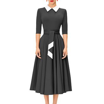 Black Vintage Peter Pan Collar Midi Dress