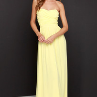 Royal Engagement Strapless Yellow Maxi Dress