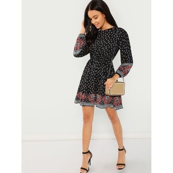 Calico Print Paisley Hem Dress