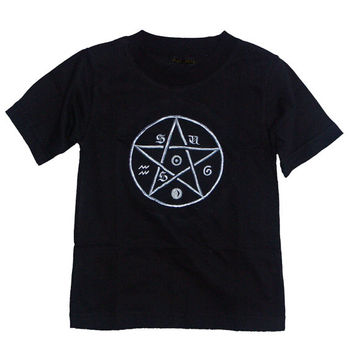 Children's black t-shirt. Boy's or girl's child's top. Baby gothic pagan clothing with pentagram