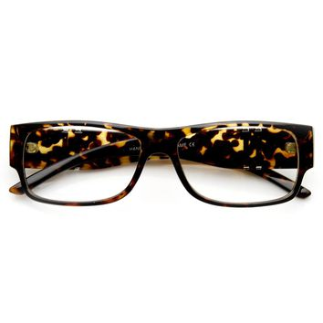 Modern Fashion Metal Accented Rectangular Clear Lens Glasses