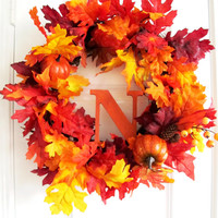 Fall Monogram Wreath Orange Fall Wreath Leaves Pumpkins Wood Monogram Letter