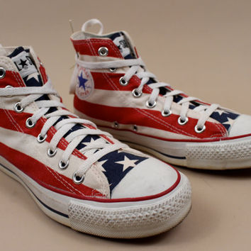 70s - 80s vtg rare CONVERSE American Flag Stars & Stripe Lace Up Ankle Boot Tennis Shoe / Sneakers Sz 6.5 Mens / 8 8.5 Wms / USA Made