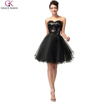 Short Cocktail Dress Grace Karin Glitter Knee Length Strapless Tulle Sequin Black Formal Gowns Golden Special Occasion Dresses
