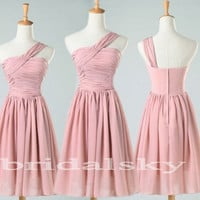 Short Pink One Shoulder Chiffon Bridesmaid dress Prom Dresses Evening Dress homecoming Dresses Wedding Events 2014