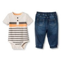 Baby Boys' 2 Piece Set Oatmeal Heather/Dark Wash - Cherokee®