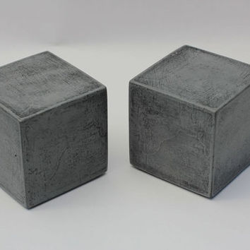 Modern Concrete Bookends   Cube by roughfusion on Etsy