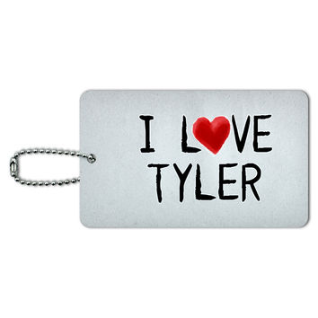 I Love Tyler Written on Paper ID Card Luggage Tag