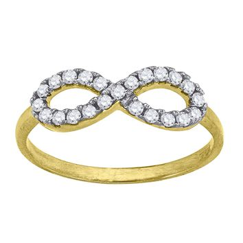 Round Cut CZ Infinity Love Symbol Promise Ring in 10k Yellow Gold