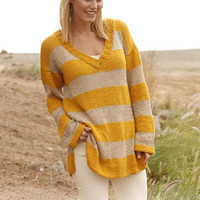 Oversize sweater Summer sweater Striped loose mustard sweater pullover stripes hand knit sweater women sweater cotton linen jumper Lilith