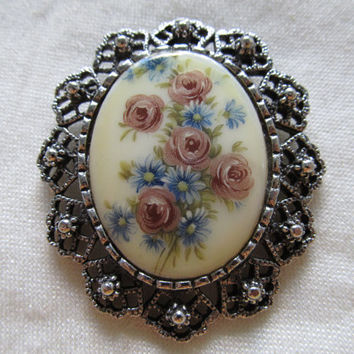 1960s-70s Floral Pin