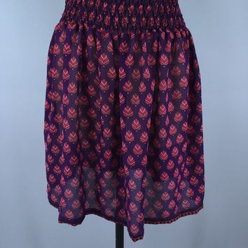 Chiffon Skirt / Vintage Indian Sari / Purple Leaf Floral Print / Size Small - Medium