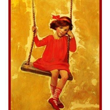 Young Girl Swinging By Jessie Willcox Smith Counted Cross Stitch Pattern