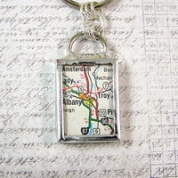Albany New York Map Double Sided Keychain