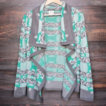 cozy bonfire knit cardigan sweater - mint green & grey