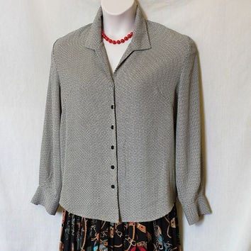 Vintage Plus Size Secretary Blouse Art Deco Print Button Up Long Sleeved Black Shirt Women Vtg