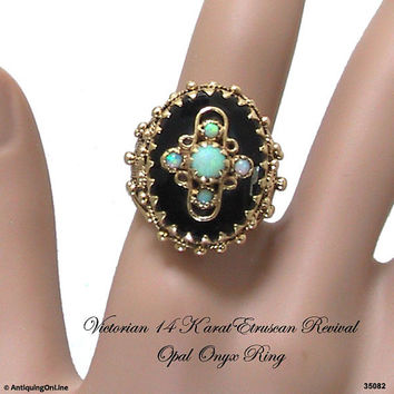 Victorian Etruscan Opal Onyx Ring, 14K Etruscan Revival Ring, Antique Victorian Jewelry
